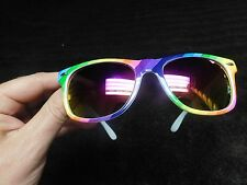 TRENDY CELEBRITY RAINBOW STRIPED SUNGLASSES HOLOGRAPHIC MIRRORED LENS