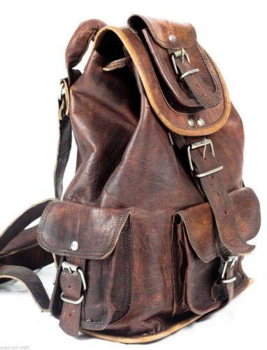 Real Goat Leather Travel Luggage Handmade Backapck Rucksack Large Vintage Bag