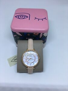 Fossil-Women-039-s-Rose-Gold-Suede-Band-Mother-of-Pearl-Dress-Watch-ES4455-NWT-145