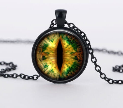 Wide Dragon Eye Pendant Necklace