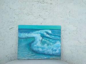 Original-Acrylic-Painting-8-x-10-Canvas-Panel-Wave-Seascape-Beach-Coastal-Art