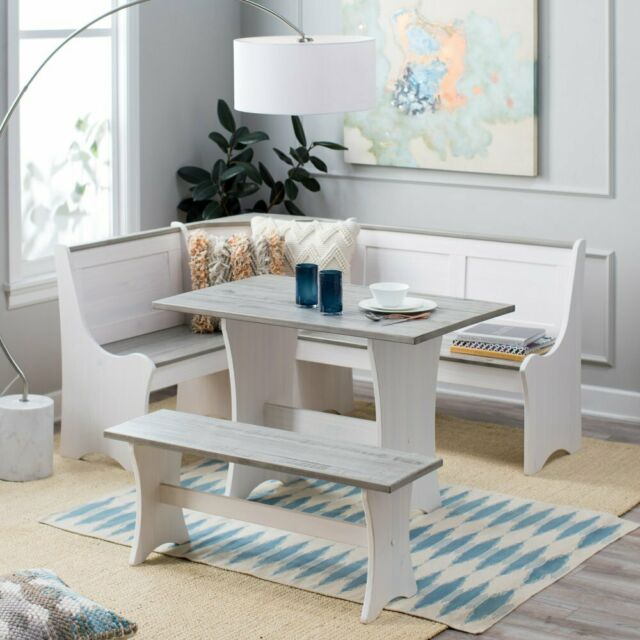 3 Pc White Gray Top Breakfast Nook Dining Set Corner Booth Bench Kitchen Table For Sale Online