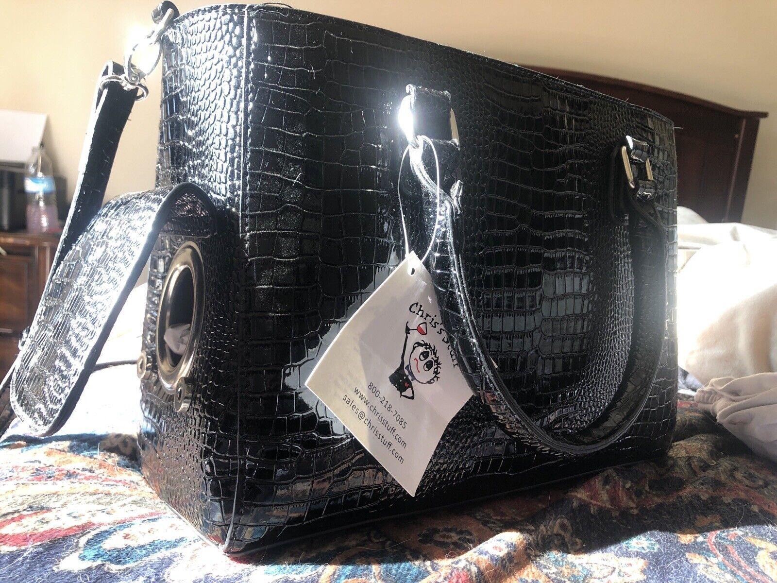 Primeware Black Croc Wine Clutch Insulated Bottle Tote Bag Handbag w// Corkscrew