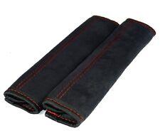 Gurtschoner 2 Stück aus Alcantara schwarz  Naht ROT Gurtpolster