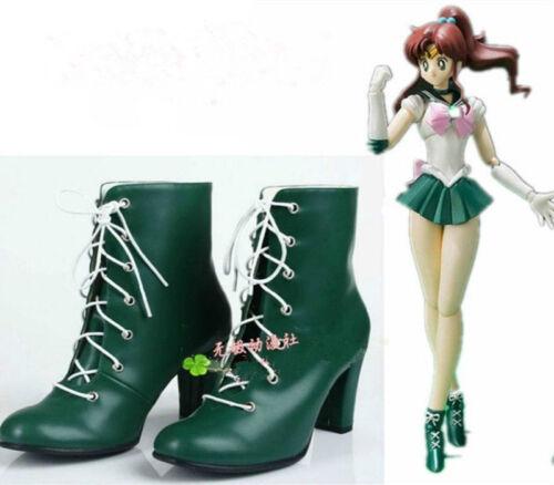 New!Sailor Moon Kino Makoto Sailor Jupiter cosplay shoes green boots Custom-Made