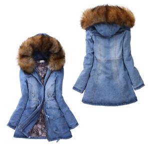 Børnehalsbånd Dame Lang Vinter Lang Varm Frakke Denim Jakke Mode Kvinder Jean T1Iqqg