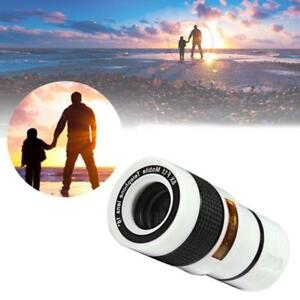 White-8X-Zoom-Magnifier-Optical-Telescope-Camera-Lens-w-Clip-for-Mobile-Phone-BC
