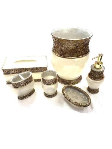 Elegant 6 Piece Bathroom Ceramic Accessory Set High Quality White and gold