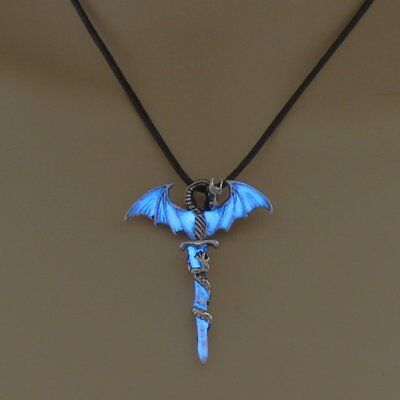 Vintage Silver Glow In The Dark Cross Dragon Pendant Necklace Luminous Jewelry