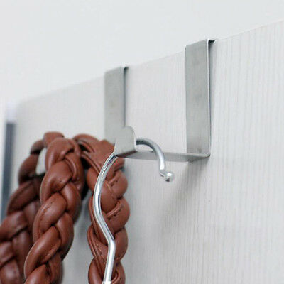 2x  Stainless Over Door Hooks Kitchen Cabinet Draw Towel Clothes Holder Hanger