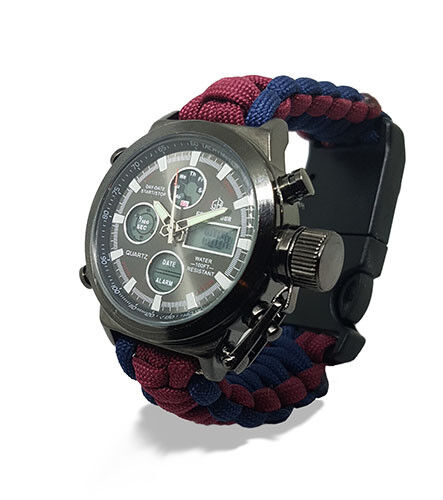Paracord Watch in The Coldstream Guards Colours For The Strap Water Resistant