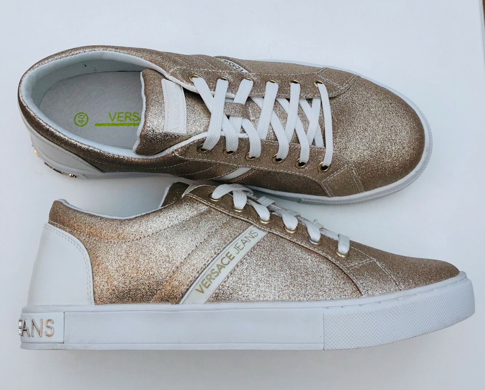 VERSACE JEANS pink gold Glitter Plimsolls Trainers Sizes BNWT BOX