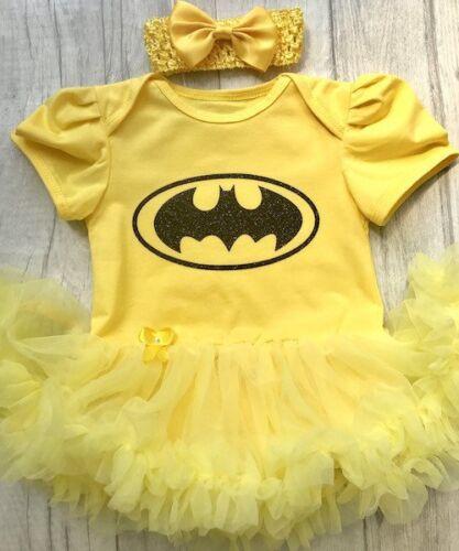 Black Glitter Batman Yellow Marvel Newborn Gift BATMAN SUPERHERO TUTU ROMPER