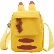 1pc Cute Pikachu Pattern Shoulder Bag Unisex Yellow Anime Canvas Bag Cosplay