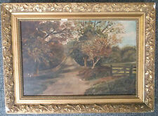 FRAMED OIL ON BOARD PAINTING J.SHINGLES 1913 AN AUTUMN LANDSCAPE AND RURAL TRACK