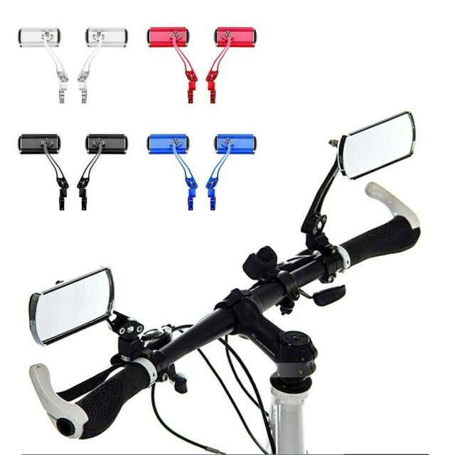 2x Aluminium Fahrrad Lenker Rückansicht Rechteck Gläser Radfahren Rückspiegel DE