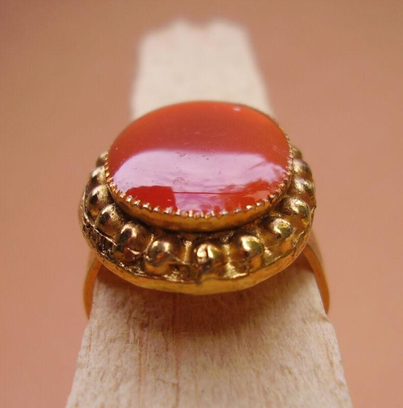 1947 / Ring Oval Metal Dore + Enamel Orange/adjustable