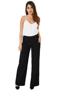 Q06-Ladies-Girly-Black-High-Rise-Wide-Leg-Tailored-Culottes-Trousers-UK-10