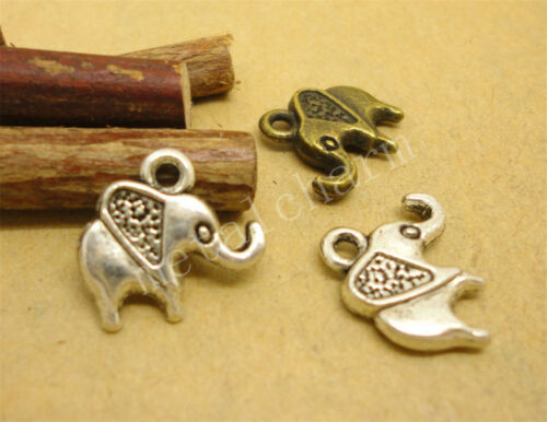 50//260pcs Lot DIY Tibetan Silver two-sided Elephant Charm Pendant 14x13mm A807S