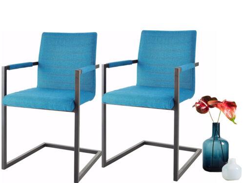 2x Freischwinger Esszimmerstuhl Schwingstuhl Konferenzstuhl Metall türkis creme