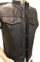 Concealed Carry Leather Biker Premium Vest