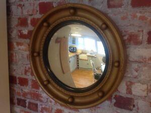 "Vintage round convex wall mirror gold with gold balls 14"" Diameter"