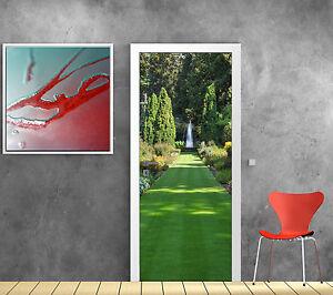 Stickers pour porte trompe l\'oeil déco Jardin Fontaine réf 768 | eBay