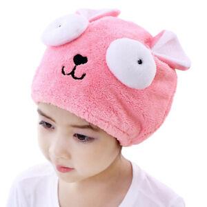 Cute Kids Hair Turban Quickly Dry Hair Hat Towel Pink Head Wrap Cap