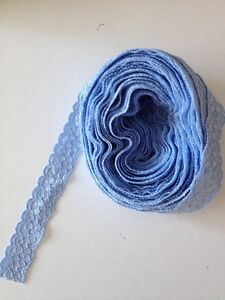 10 X Mtrs Of Blue Stretchy Lace Look Lace Approx 78ths Inch Wide See Details - Aberystwyth, Ceredigion, United Kingdom - 10 X Mtrs Of Blue Stretchy Lace Look Lace Approx 78ths Inch Wide See Details - Aberystwyth, Ceredigion, United Kingdom