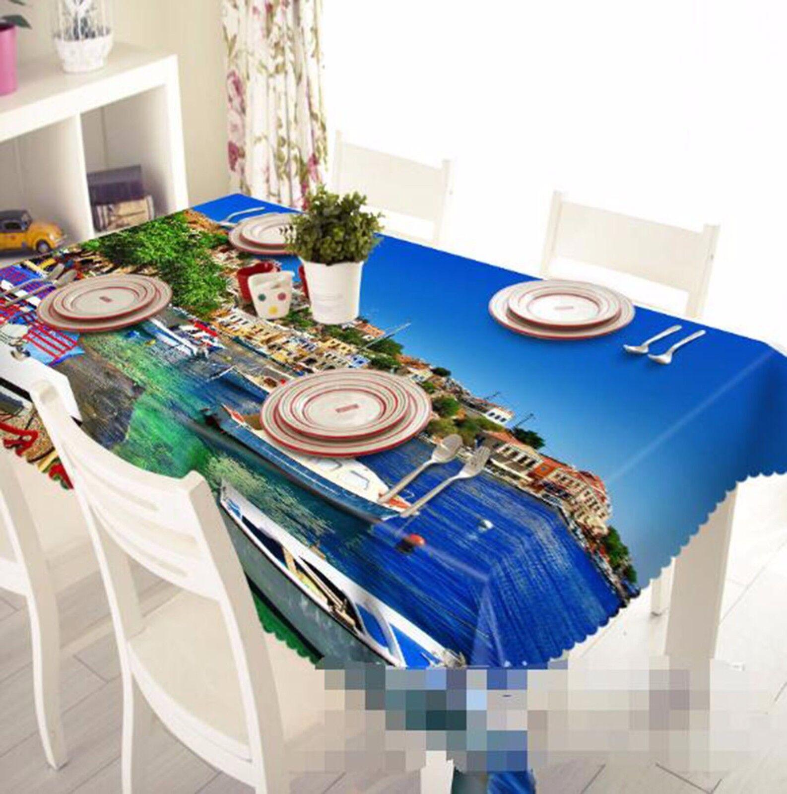 3D village Nappe Table Cover Cloth fête d'anniversaire AJ papier peint Royaume-Uni Citron