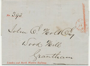 "GB 1859 ""PAID/LONDON"" + handstruck ""1"" LONDON + NORTH-WESTERN RAILWAY"