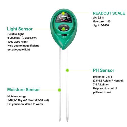 3-in-1 Soil Test Kit for Moisture Light /& pH,2 Packs iPower Soil pH Meter