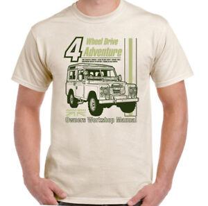 Land-Rover-Defender-Manual-Haynes-Style-Mens-Funny-4X4-T-Shirt-90-110-Landy-Jeep