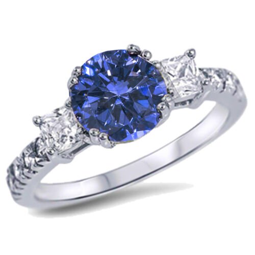 Round /& Princess Gemstone Sapphire CZ Engagement Ring Sterling Silver Sizes 4-12