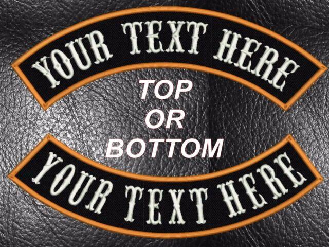 """Patch Sew On biker vest 12/"""" CUSTOM EMBROIDERED TOP ROCKER upper or bottom"""