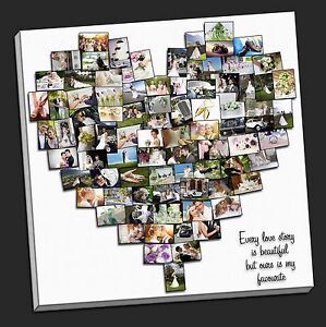personalised heart shaped canvas photo collage framed print fathers