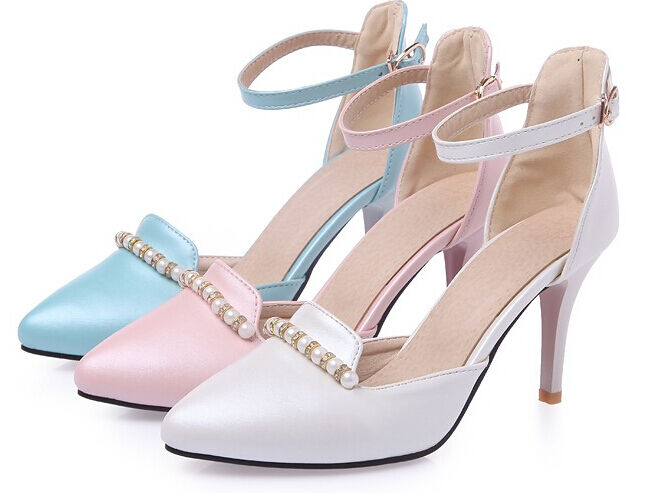 Summer sandals woman heel pin stiletto cm white pink bluee cod. 8483