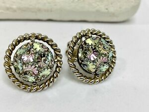 Sarah Coventry Vintage Earrings Clip On Silver Tone Cluster Pink & Green Pastel