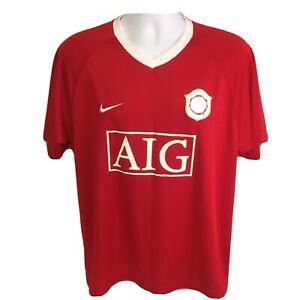 Nike-Mens-Soccer-Jersey-Man-Manchester-United-Red-Medium-Dri-Fit-AIG-Free-Ship