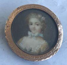 Portrait miniature de femme (19ème  siècle ) broche en argent plaqué or