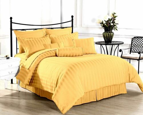 Bedding Items Deep Pocket Egyptian Cotton 800//1000 TC UK All Sizes Gold Stripe