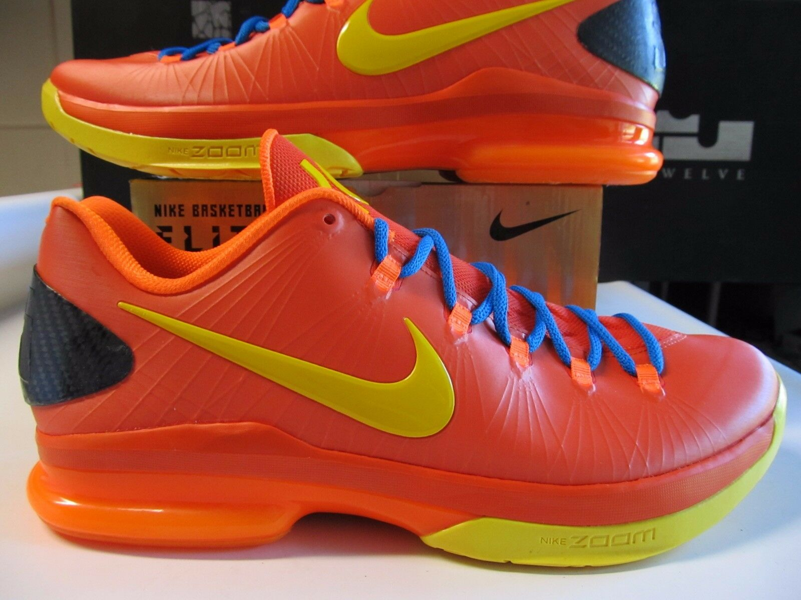 Nike KD V 5 Elite Orange Yellow Blue Mens Size 11