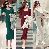NEW WOMENS LONG SLEEVE WARM WINTER KNIT SLIM SIZE TUNIC SWEATER DRESS UK12-22