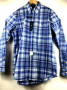 Ralph-Lauren-Mens-Large-Classic-Fit-L-S-Cotton-Stretch-Blue-Plaid-Button-Down