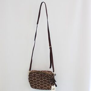 FOSSIL Brown Polka Dot Leather Cordovan Sydney Crossbody Bag 20x17x6cm - B22