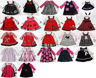 NWT Girls Dress Outfit Jumper Set Long Sleeve NWT Holiday Xmas 3m 6m 12m 18m 24m