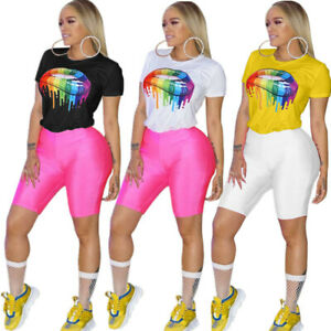 NEW-Women-Colorful-Lips-Print-Short-Sleeve-Casual-Summer-Clubwear-T-Shirts-Tops