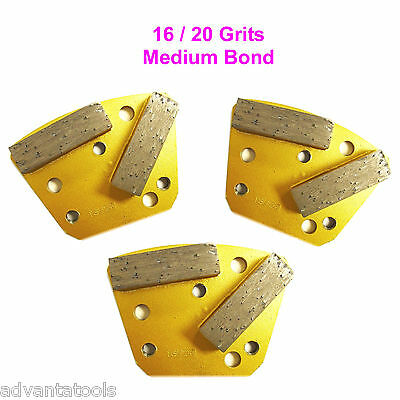 3PK 16//20 Grit Medium Bond Trapezoid HTC Grinding Disc//Plate//Shoe-Premium Grade