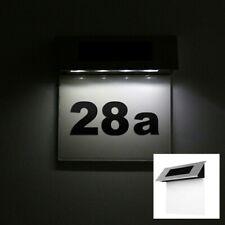 Solar Hausnummer LED Zahlen Buchstaben Dämmerungssensor Montagematerial 6783