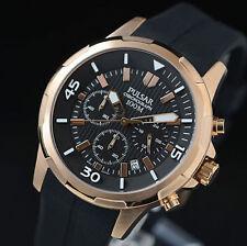Reloj para hombres con Cronógrafo Pulsar Oro Rosa Estuche Correa de caucho 100M PT3716 Reino Unido Vendedor